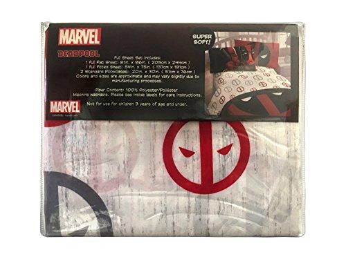 Marvel Deadpool Invasion 4 Piece Full Sheet Set, White/Gray/Red