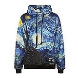 Sexy&Stylish Starry Night Women's 3D Sweatshirt Fashion Print Van Gogh Oil Painting Hoodies Blue Galaxy Small / Medium