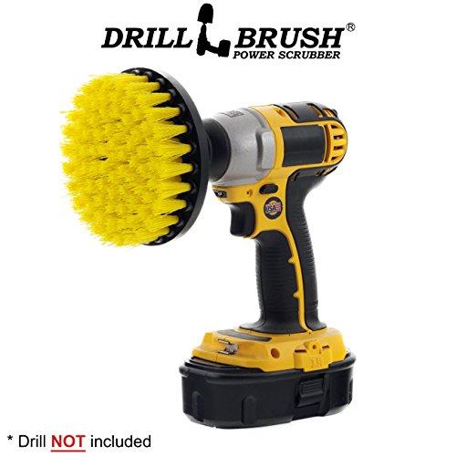 Powered Brush (5 Inch Diameter Drill Powered Scrub Brush With Quarter Inch Quick Change Shaft)