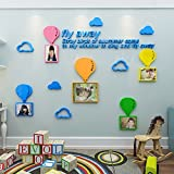 LemonGo Creative Photo Frame Wall Sticker 3D Crystal Acrylic Hot Air Balloon Wall Murals Wall Decals Decoration for Living Room Children Room Baby Nursery