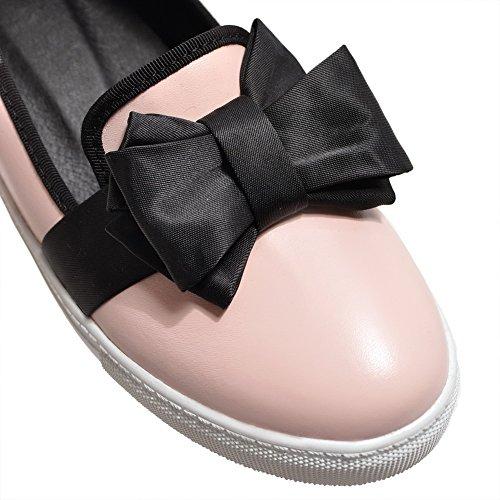Allhqfashion Dames Effen Pu-katoenen Hakken Ronde Neus Instelbare Pumps-schoenen Roze