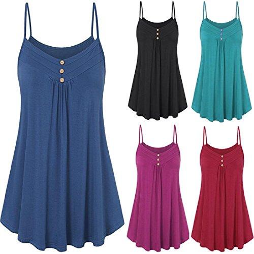 Bleu Mode Vest Bouton Solide Femme Sexyville Tops Dcontract sans Dbardeurs Manches D't xwqpWnRSCf