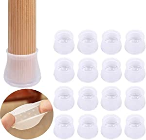 32 Pcs Furniture Silicon Protection Cover - Chair Leg Caps Floor Protector - Anti-Slip Bottom Chair Pads, Prevents Scratches and Noise