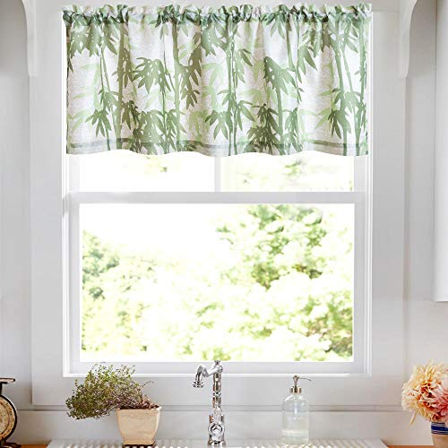(Valance Bamboo 18 inch Kitchen Window Curtain Living Room Bedroom Waterproof Bathroom Curtains Valance Panel Sold)
