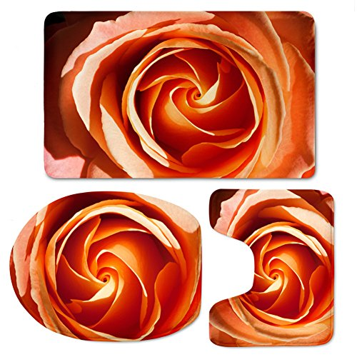 Coloranimal 3D Rose Pattern Bathroom Rug Set Non Slip Bathroom Rugs, U-Shaped Toilet Mat, Toilet Lid Cover (3 Piece)