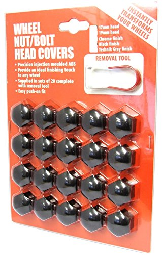 Hexagon Wheel Nuts Covers Pack of 20 - ABS Plastic (19mm Black) High Quality Finish AIP