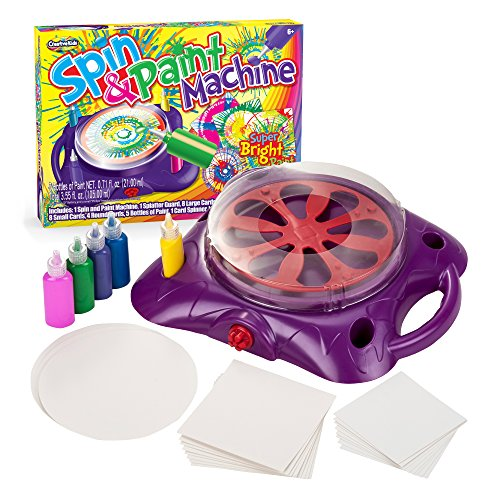 - Creative Kids Spin & Paint Art Kit - Spinning Art Machine + Splatter Guard + 5 Bottles Of Paint + 8 Large Cards + 8 Small Cards + 4 Round Cards | Fun Preschool Toddlers, Children & Adults