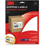 3M Permanent Adhesive Shipping Labels, 5-0.5 x 8.5 Inches, White, 50 per Pack (3200-V)