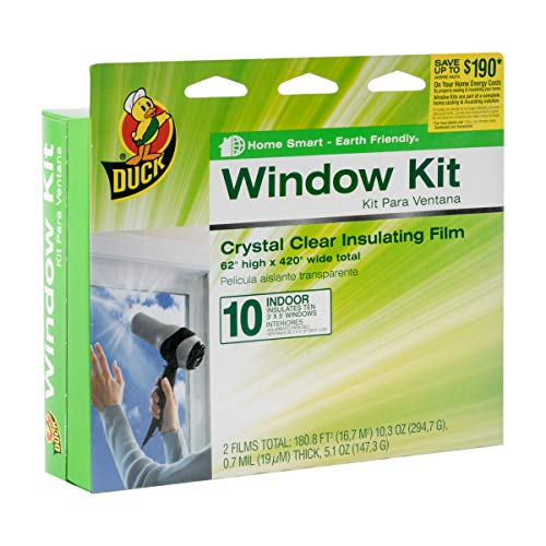 Plastic Window Insulation - Duck Brand Indoor 10-Window Shrink Film Insulator Kit, 62-Inch x 420-Inch, 286216