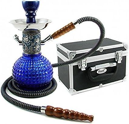 FumandoEspero Shisha - Cachimba Mya Bambino Plata Azul con Maletín Transporte