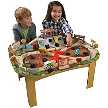 KIDKRAFT Disney Pixar Cars 3 Thunder Hollow 65+ Piece Wooden Track Set with Accessories and Table
