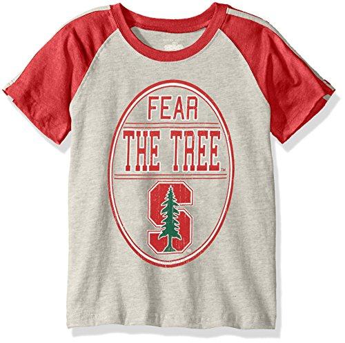 (NCAA Boys Raglan Short Sleeve Stripe Tee,Stanford Cardinal,Red,6)