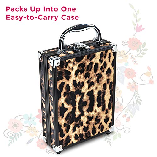Vokai Makeup Kit Gift Set - Leopard Print Travel Case 24 Eye Shadows 4 Lip Glosses 2 Blushes 5 Brushes 1 Eye Liner Pencil - Case with Carrying Handle
