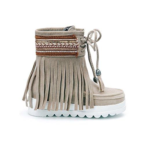 ... YE Damen Flache Ankle Boots Gefütterte Stiefeletten mit Schnürung und  Fransen Bequem Warm Winter Schuhe Braun ... f3b3d22886