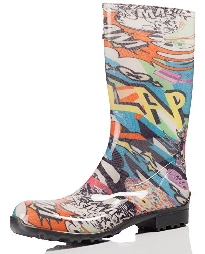 Ladeheid Women's Rubby Boot Ilse LA-967 Newspaper/White v3AK7wsTAA