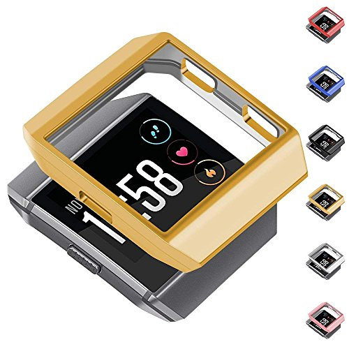 Compatible Fitbit Ionic Case Protector greatgo Soft Shock Proof Protective Slim Frame Durable Cover Accessories for Ionic smartwatch Women Men Classic Gold
