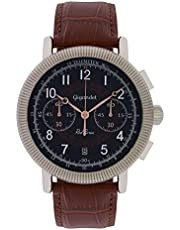 Gigandet Herrenuhr Chronograph Vintage-Uhr Lederarmband Männeruhr Red Baron G19