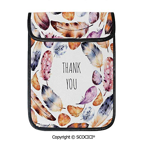 - SCOCICI Shockproof Tablet Sleeve Compatible 12.9 Inch iPad Pro Bird Hawk Colored Feathers with Hand Written Thank You Note in Middle Print Tablet Protective Bag
