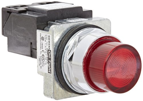 Siemens 52PL4K2 Heavy Duty Pilot Light, Water and Oil Tight, Plastic Lens, Transformer, 6V 755 Type Lamp or 6V LED, Red, 600VAC Voltage