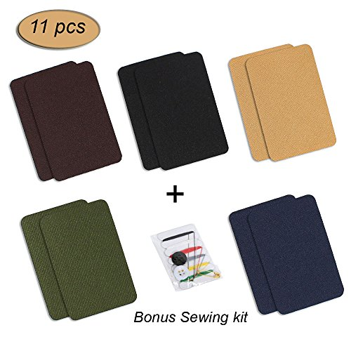 iLosga Iron-On Patches, Dark Assortment Bonus Sewing kit Included (5 Colors, 2