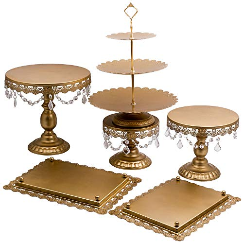 6Pcs Golden Metal Crystal Cake Holder Cupcake Stand Wedding Party Display by Tuningsworld (Image #2)