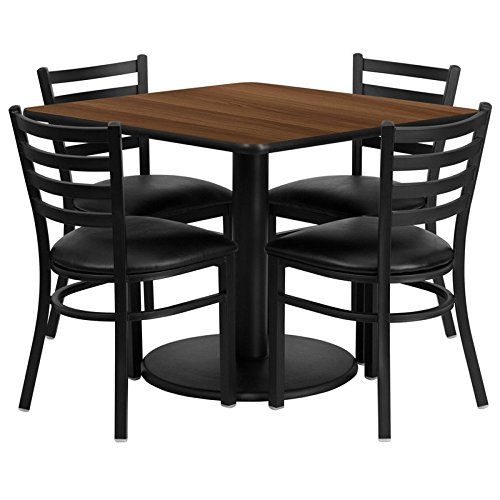 Dyersburg 5pcs Table Set Square 36'' Walnut Laminate, Black Vinyl Chair by iHome Studio