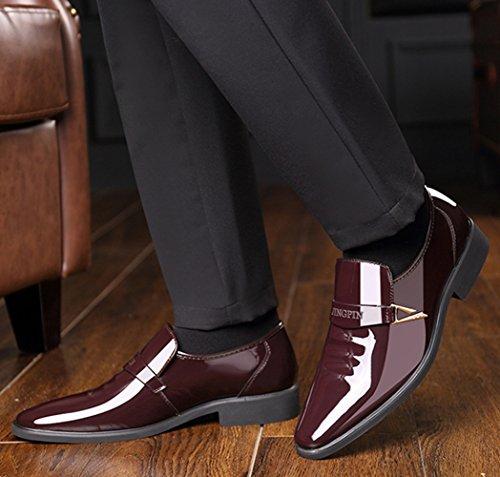 Chaussures Habillées De Printemps Et D'automne Pour Hommes Chaussures De Derby De Mode Chaussures De Travail En Cuir Verni Brown fNEMtO0