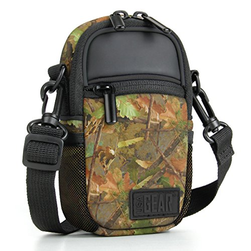 USA GEAR Compact Camera Case (Camo Woods) Point and Shoot Camera Bag with Accessory Pockets, Rain Cover and Shoulder Strap-Compatible with Sony CyberShot, Canon PowerShot ELPH, Nikon COOLPIX and More