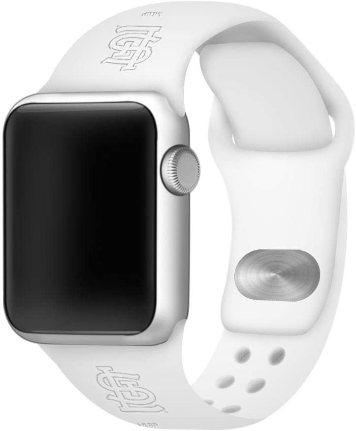 GAME TIME St. Louis Cardinals Debossed Silicone Sport Watch Band Compatible with Apple Watch (42mm/44mm - White)