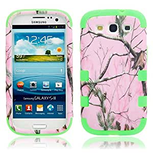 Pink Tree Branch tone Plastic shield Case for Samsung S3 i9300 Green Bottom