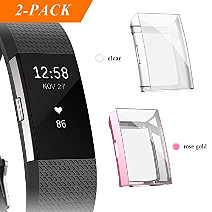 Fibit Charge 2 Screen Protector, iHYQ Slim Soft Full Cover Case for Fitbit  Charge 2 Smart Watch (rosegold)