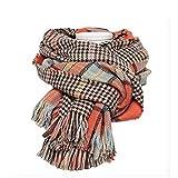 Women's Cozy Tartan Scarf Wrap Shawl Neck Stole Warm Plaid Checked Pashmina (Orang)