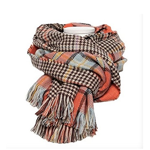 Women's Cozy Tartan Scarf Wrap Shawl Neck Stole Warm Plaid Checked Pashmina (Orang) by Neal LINK (Image #6)