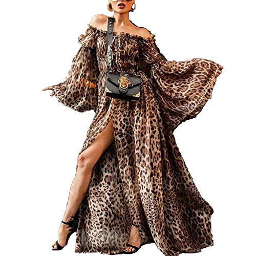 Leopard Printed Plus Size Bohe Dress Off Shoulder Maxi Dress Chiffon Split Long Sleeves Dress,Brown,XXXL
