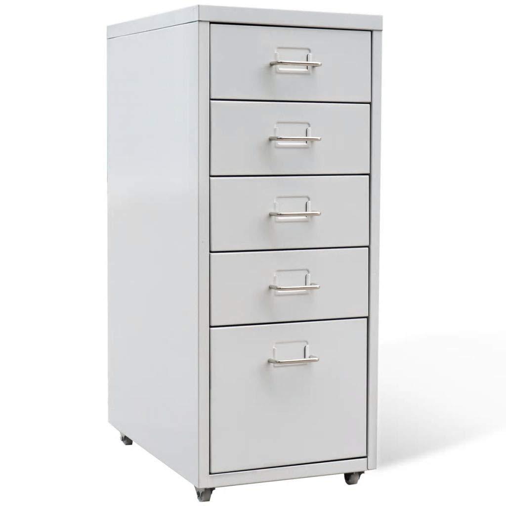 Jskjlkl Metal File Cabinet File Storage Organizer Storage Office Box 5 Drawers with Wheels