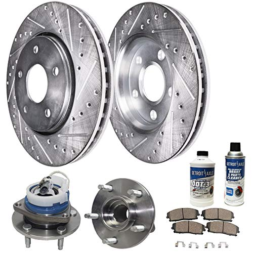 Detroit Axle - Front Wheel Bearing Hub and Drilled Slotted Brake Rotor w/Ceramic Pads for 00-04 LeSabre - [97-05 Park Avenue] - 97-05 Deville - [00-04 Impala/Monte Carlo] - 00-03 Bonneville