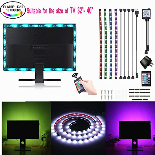 TV Backlight, SOLMORE RGB LED Strip Lights SMD 5050 Flexible Light USB Bias Monitor Lighting with Remote, TV Accent Lighting, Changing Color dapter for Flat Screen TV Accessories Desktop Bias Lighting by SOLMORE