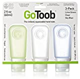 humangear GoToob Travel Bottles, 3-pack, Clear/Blue/Green, Medium (2 oz)