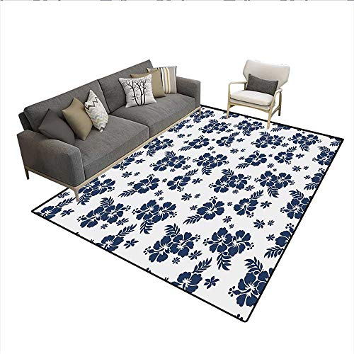 Floor Mat,Monochrome Foliage Bouquet Abstract Art The Flower of Aloha State Hibiscus,Rugs for Bedroom,Navy Blue White ()