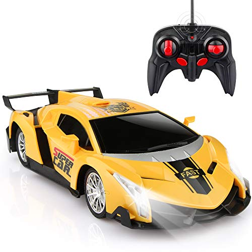 Growsland Remote Control Car, RC Cars Xmas Gifts for Kids 1/24 Electric Sport Racing Hobby Toy Car Yellow Model Vehicle for Boys Girls Adults with Lights and Controller (Remote Controller Car)