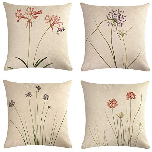 (TongXi Green Slender Leaf Floral Pattern Decorative Throw Pillow Case Cushion Covers 18x18 inches Pack of 4)