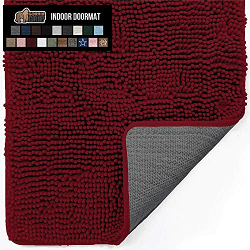 Gorilla Grip Original Indoor Durable Chenille Doormat, 24x17, Absorbent Machine Washable Inside Mats, Low-Profile Rug Doormats for Entry, Back Door, Mud Room Mat, High Traffic Areas, Burgundy