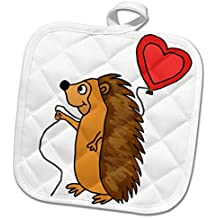 3dRose All Smiles Art Love - Funny Cool Hedgehog with Love Balloon Cartoon - 8x8 Potholder (phl_265133_1)