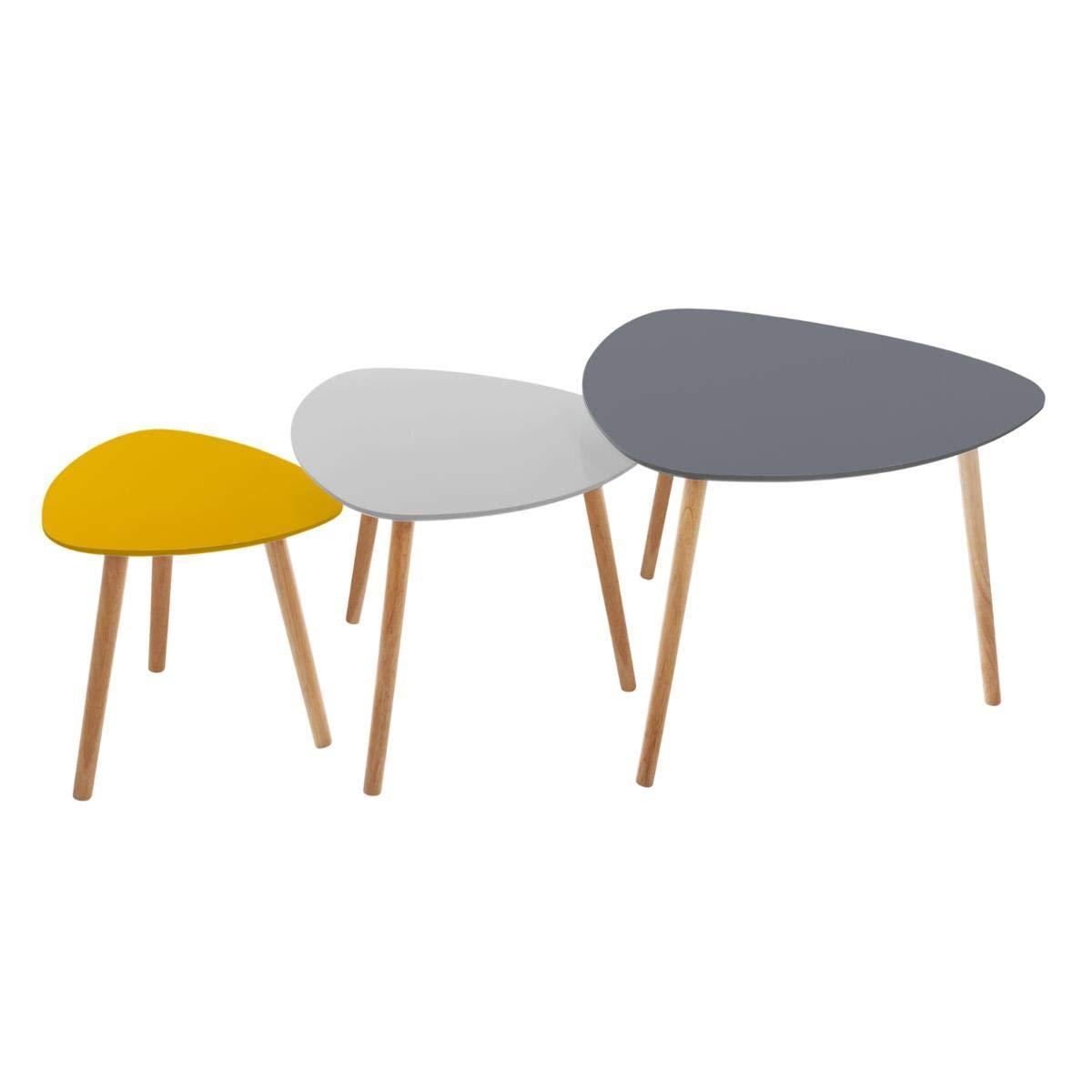 Atmosphera Set di 3 tavolini da caffè sovrapponibili – Stile scandinavo – 3 Colori Diversi: Grigio Scuro, Grigio Chiaro e Giallo Senape