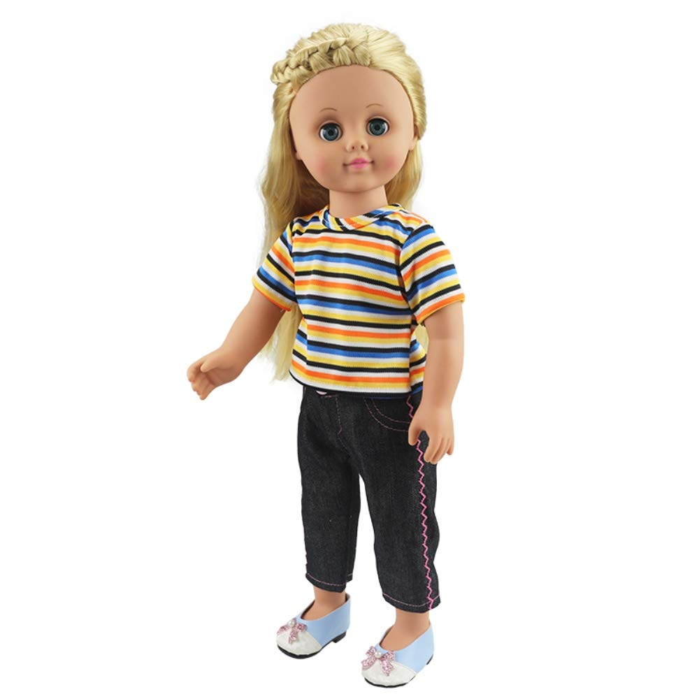 FPZone Doll Clothes,Colorful Striped Jeans Suit for 18 Inch Dolls Girls Toy,Xmas Gift,Birthday Gift and Childrens Day Gift for Children Colorful Striped Jeans Suit for 18 Inch Dolls Girl/'s Toy Birthday Gift and Children/'s Day Gift for Children