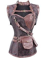 PANOZON Victoriaanse Dames Steampunk Corset Spiraal Staal Uitgebeend Brokaat Shapewear Gothic Afslanken Bustier S-6XL