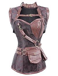 Imilan Women Gothic Steel Boned Vintage Steampunk Bustiers Corsets