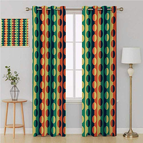 - Geometric Circle Gromet Curtain Patterned Drape for Glass Door,Pop Art Style Vertical Striped Half-Pattern Ring Forms Retro Poster Print soundproof Curtain 108 by 108 Inch Orange Teal