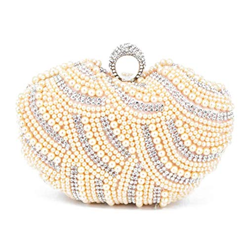 Heart Shape Beaded Clutch Bag Black White Pearl Evening Bag Party Bridal Purse Female Handbags champagne