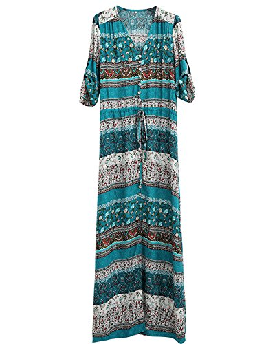 Dress Plus Summer Maxi Button Long Dresses Green Boho Floral Beach Split up AELSON Size Women's 74BwWP